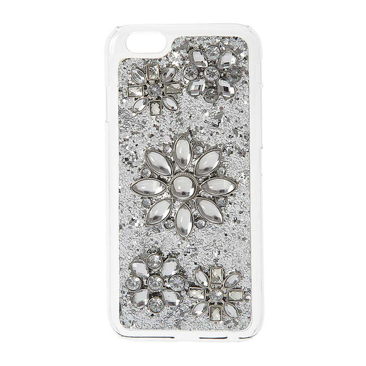 Silver Glitter & Flowers Phone Case,