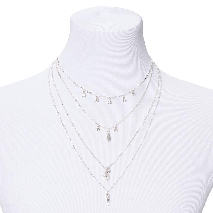 Silver Stone Disc Multi Strand Pendant Necklace,