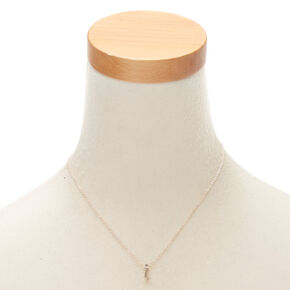Rose Gold Cursive Initial Pendant Necklace - I,