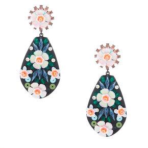 "Silver 2"" Sequin Floral Drop Earrings - Pink,"