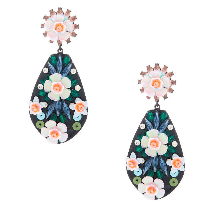 "Silver 2"" Sequin Floral Drop Earrings - Pink,"