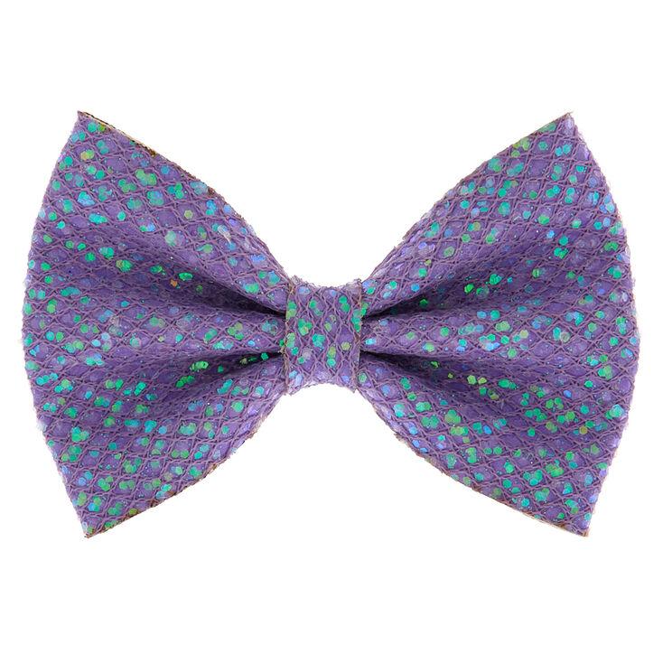 Mermaid Shine Hair Bow Clip - Lilac Purple,