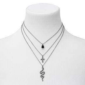 Hematite Snake & Cross Multi Strand Necklace,