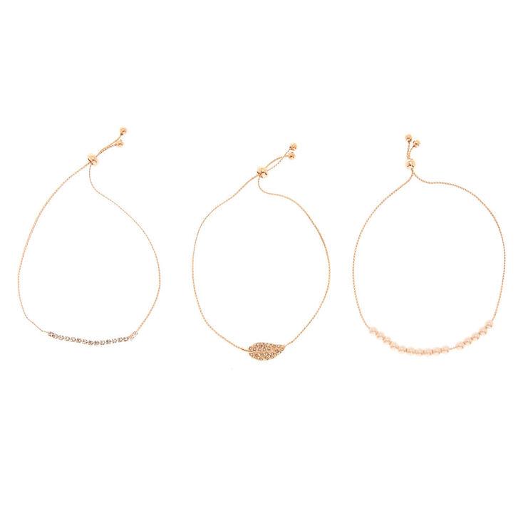Rose Gold Embellished Adjustable Bracelets - 3 Pack,