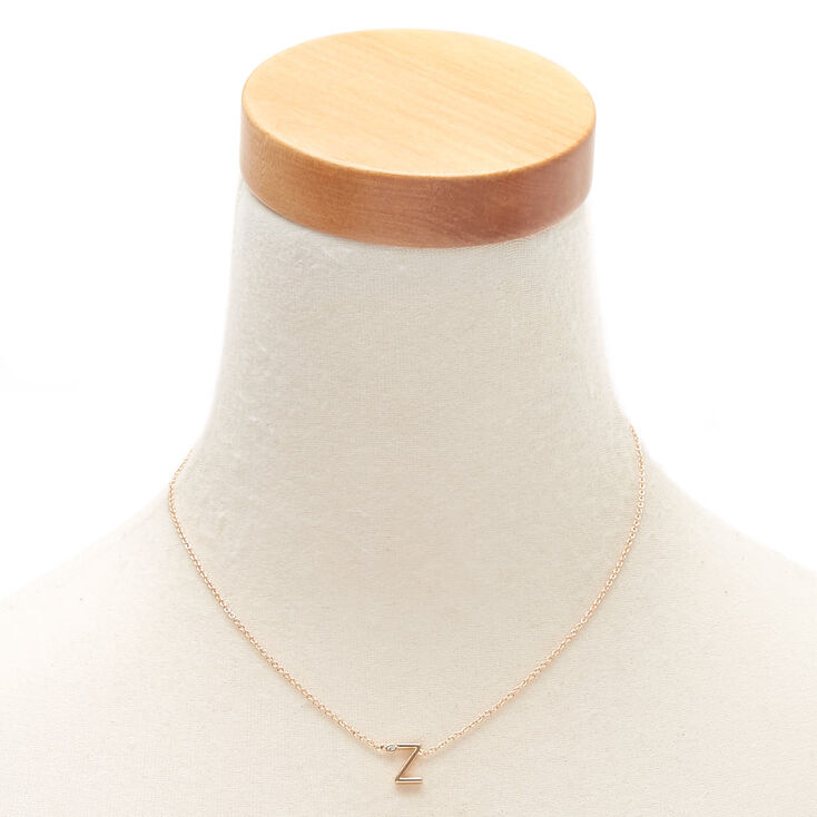 Gold Stone Initial Pendant Necklace - Z,