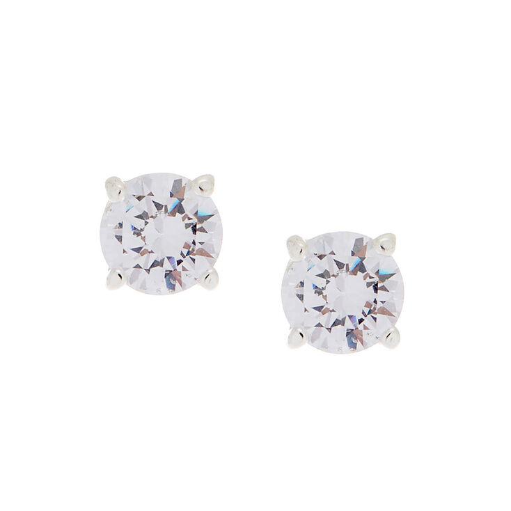 Cubic Zirconia 8MM Round Stud Earrings,