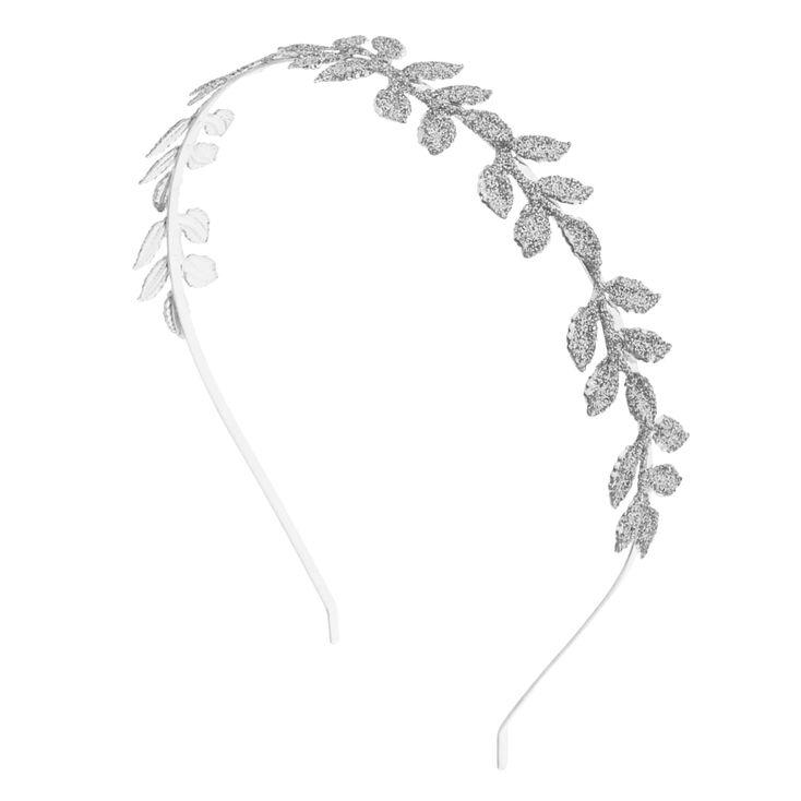 Silver Glitter Leaf Headband,