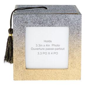 Glitter Graduation Photo Frame Cube - Black,