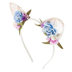 Flower & Lace Cat Ears Headband,