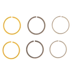 Mixed Metal 20G Solid Hoop Nose Rings - 6 Pack,