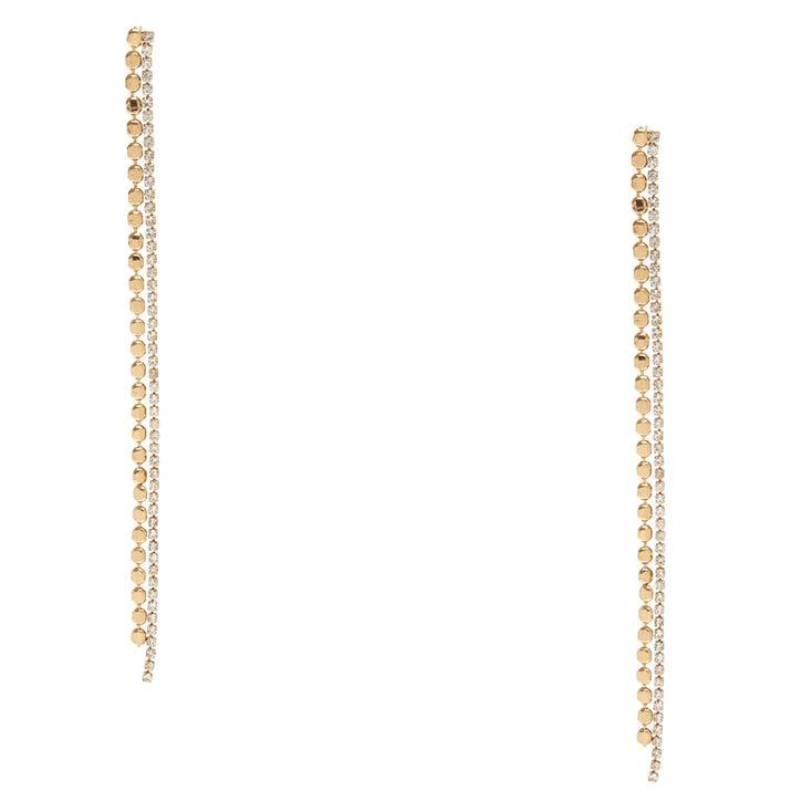 Gold Tone & Faux Crystal Geometric Fringe Drop Earrings,