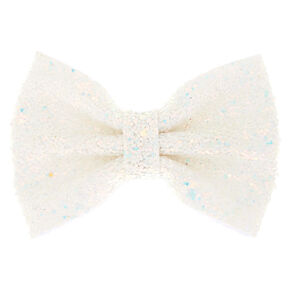 Mini Iridescent Cake Glitter Hair Bow Clip - White,