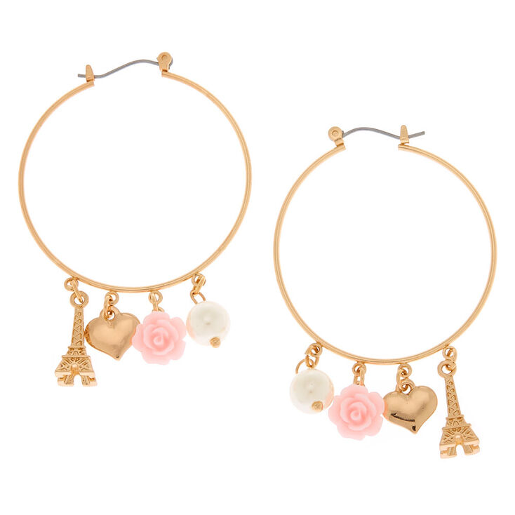Gold 40MM Romantic Charm Hoop Earrings,