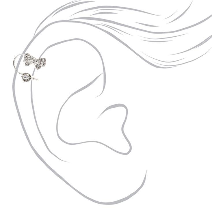Silver Tone Bow & Faux Crystal Stud Wrap Ear Cuff,