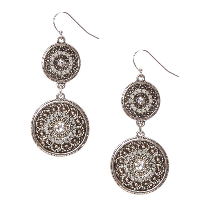 "Silver 2"" Antique Medallion Drop Earrings,"