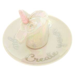 Ceramic Unicorn Jewelry Holder Tray - White,