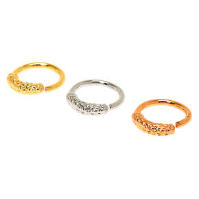 Mixed Metal 16G Textured Snakeskin Cartilage Hoop Earrings - 3 Pack,