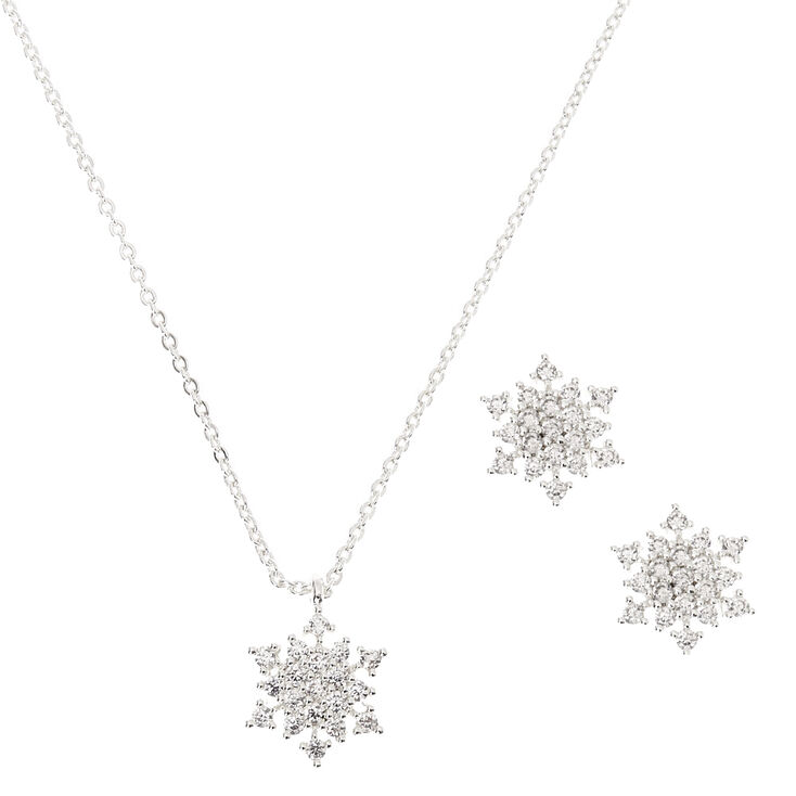 Silver Cubic Zirconia Snowflake Jewelry Set - 2 Pack,