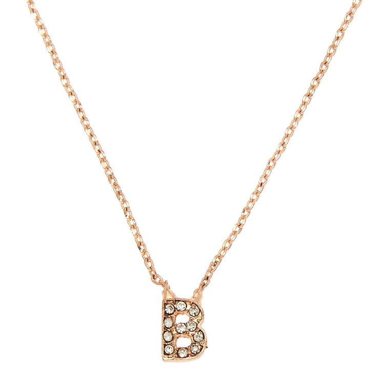 Rose Gold Initial Pendant Necklace - B,