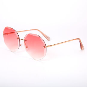 Beveled Octagon Rimless Sunglasses - Pink,