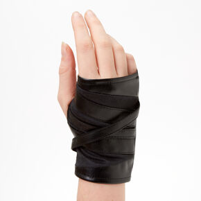 Wrap-Look Faux Leather Fingerless Gloves - Black,