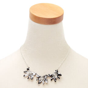 Black & White Resin Flower Statement Necklace,