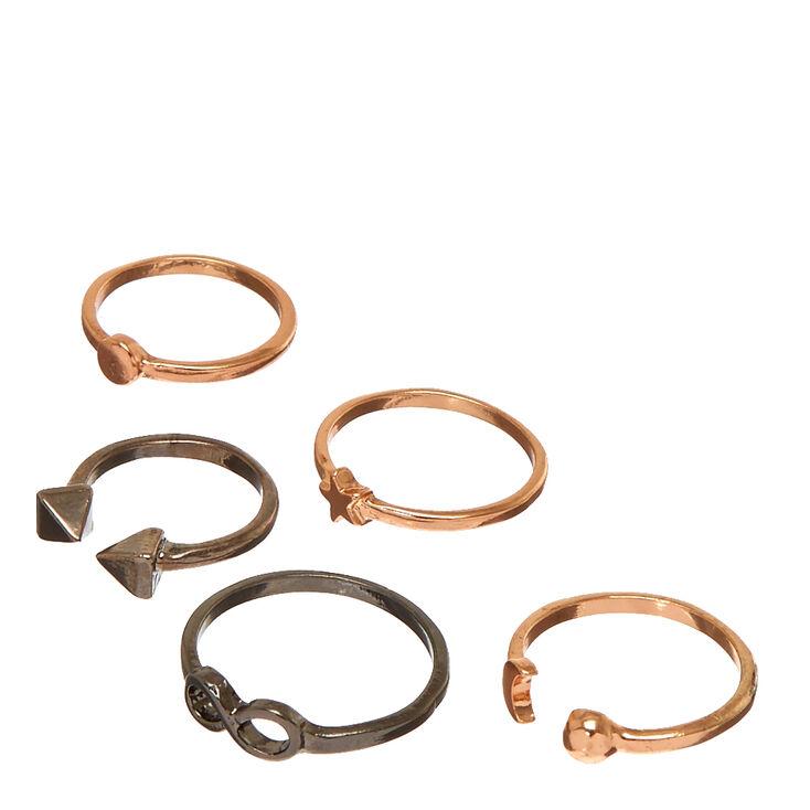 5 Pack Mixed Metal Symbol Rings,