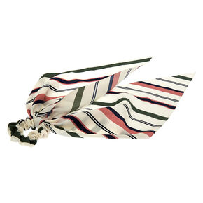Small Green & Pink Striped Hair Scrunchie Scarf,