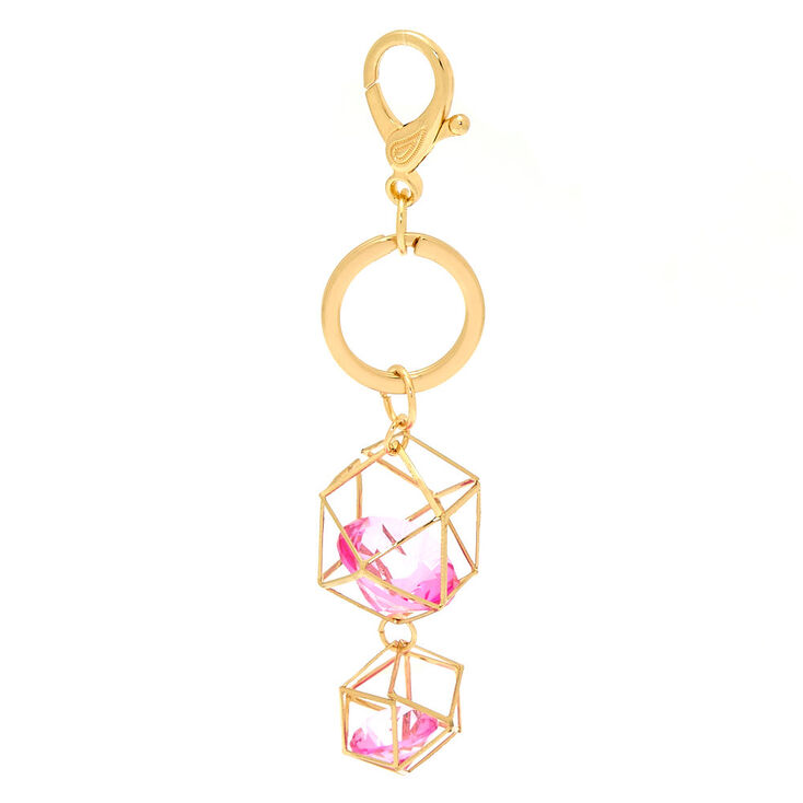 Geometric Pink Crystal Keychain - Gold,