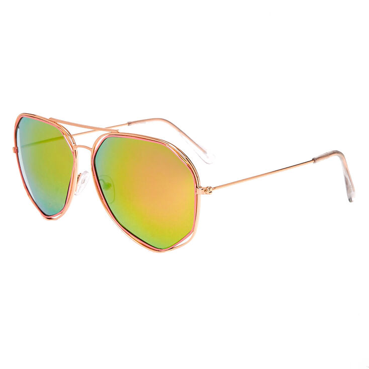 Rose Gold-Tone & Pink Aviator Sunglasses with Geometric Detail,