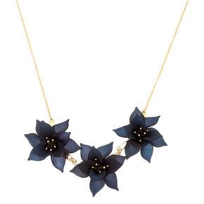 Petal Perfection Statement Necklace - Black,