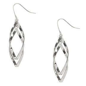 Curved Double Ribbon Marquis Drop Earrings,