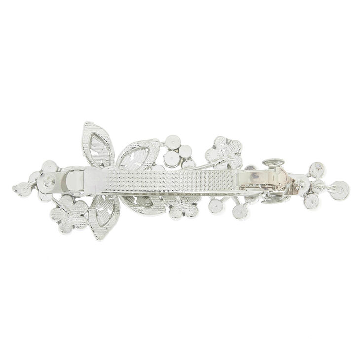 Silver Imitation Crystal And Pearl Flower Barrette,