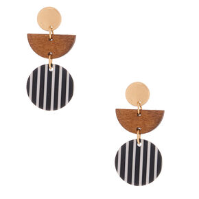 "Wood & Resin 1.5"" Drop Earrings,"