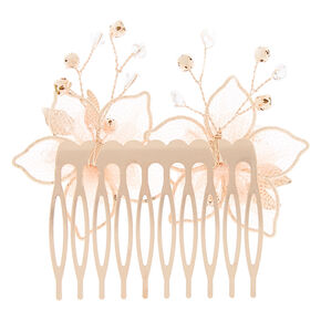 Rose Gold Organza Flower Hair Comb - Pink,
