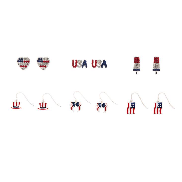 USA Motif Earrings Set - 6 Pack,