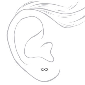 Silver Tone Infinity Symbol Stud Earrings,