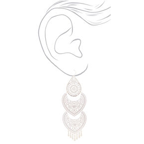 "Silver 5"" 3 Piece Filigree Drop Earrings,"