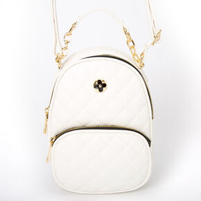 Faux Leather Quilted Mini Backpack Crossbody Bag - White,