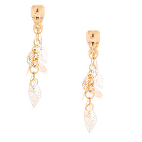 "Mixed Metal 1.5"" Leaf Clip On Drop Earrings,"
