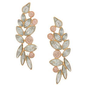 "Gold 2"" Crystal Ear Crawler Earrings,"
