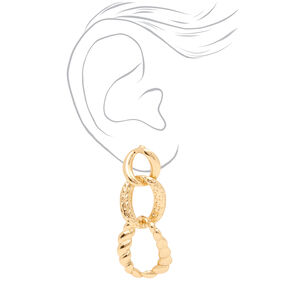 "Gold 2"" Textured Chain Link Drop Earrings,"