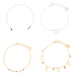 Mixed Metal Celestial Bracelets - 4 Pack,