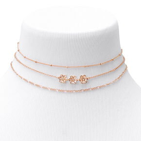 Gold Daisy Chain Choker Necklaces - 3 Pack,