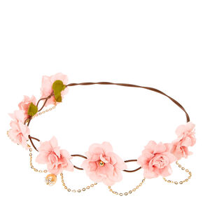 Bohemian Gold Chain Flower Crown - Pink,