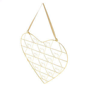 Heart Shaped Hanging Picture Holder - Gold,