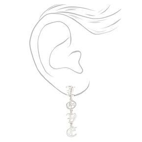 """Silver 2"""" Love Old English Script Drop Earrings,"""