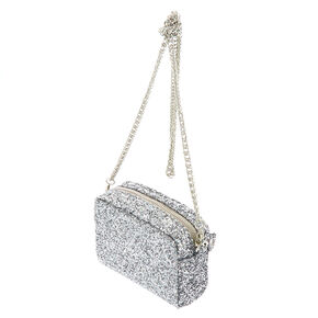 Mini Glitter Crossbody Bag - Silver,