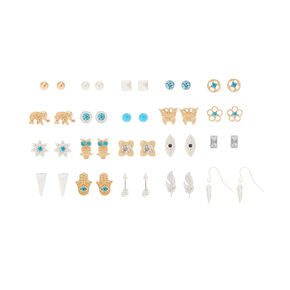 20 Pack Festival Stud Earrings,
