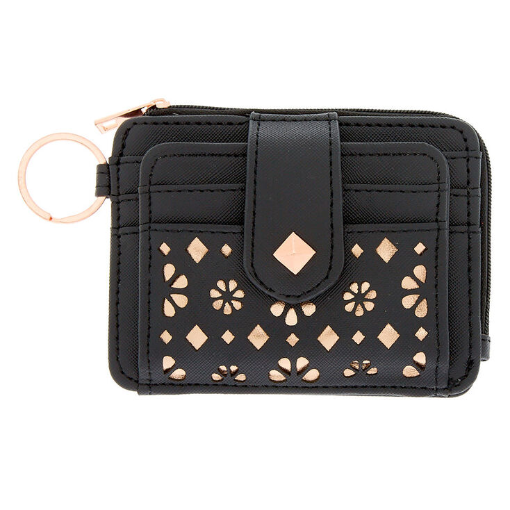 e92d166541 Rose Gold Accent Cutout Coin Purse - Black | Icing US